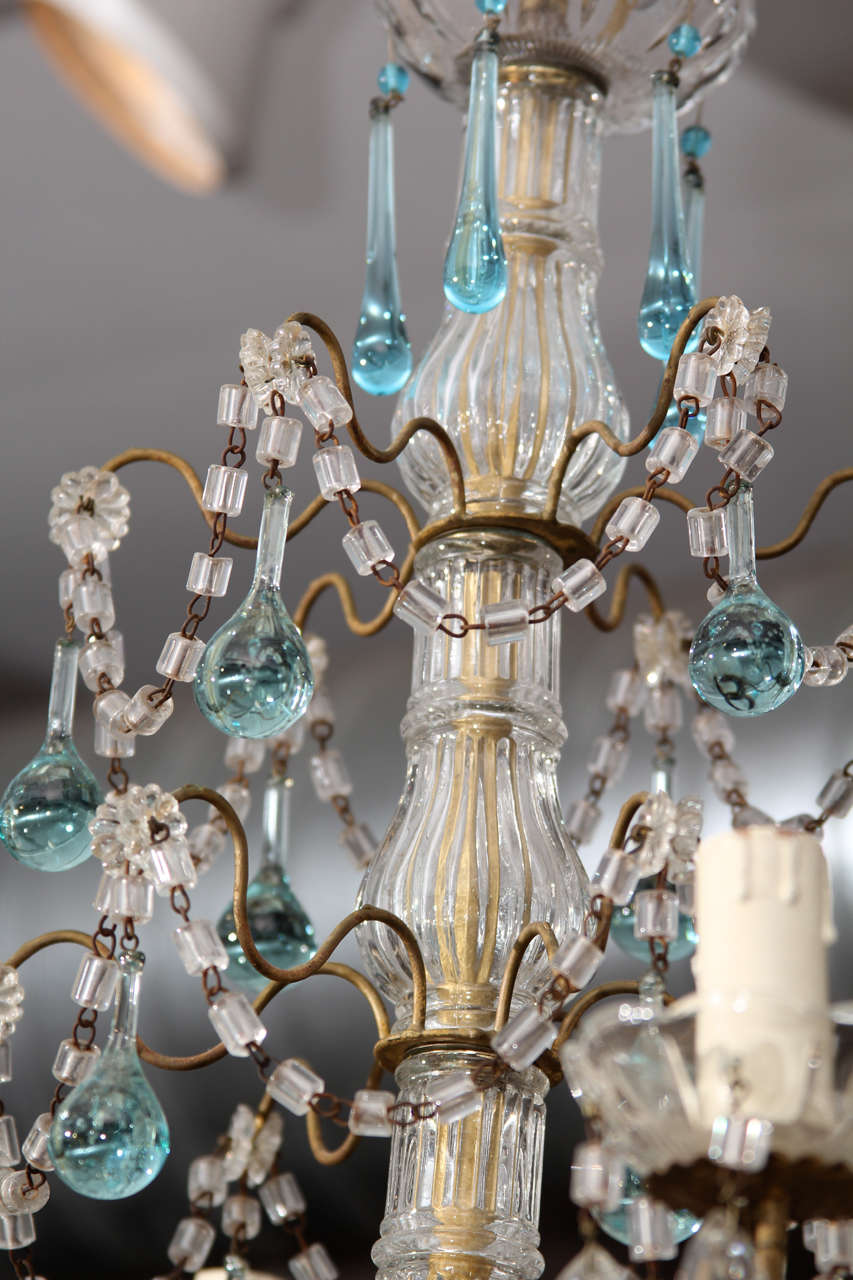 Italian Chandelier with Blue Drops For Sale 2