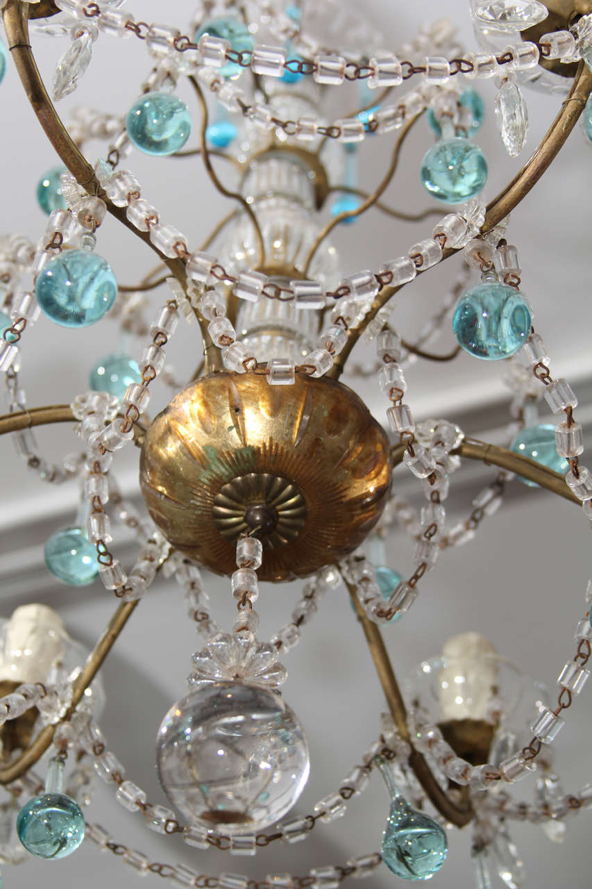 Italian Chandelier with Blue Drops For Sale 3