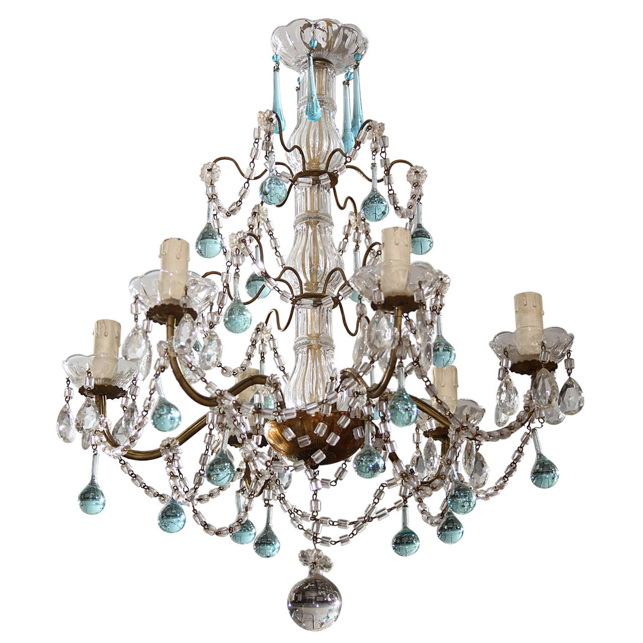 Italian Chandelier with Blue Drops For Sale