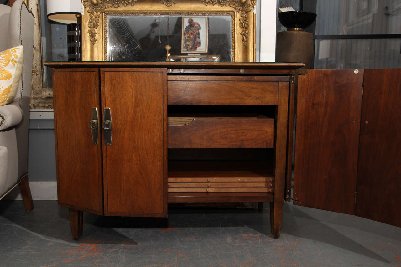 Hideaway Table - mid century cabinet that opens into table with 3 leaves  3
