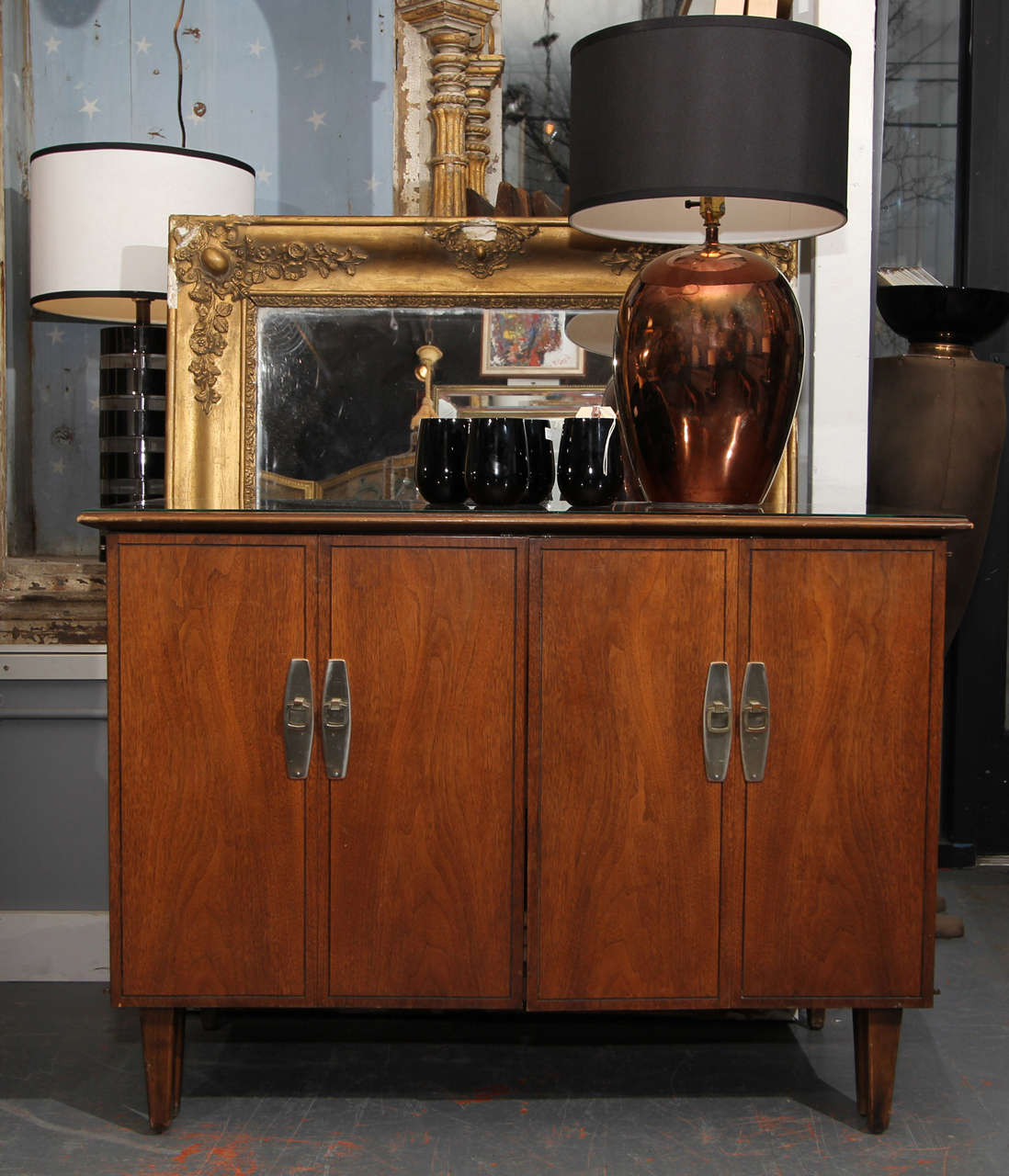 Hideaway Table - mid century cabinet that opens into table with 3 leaves  10