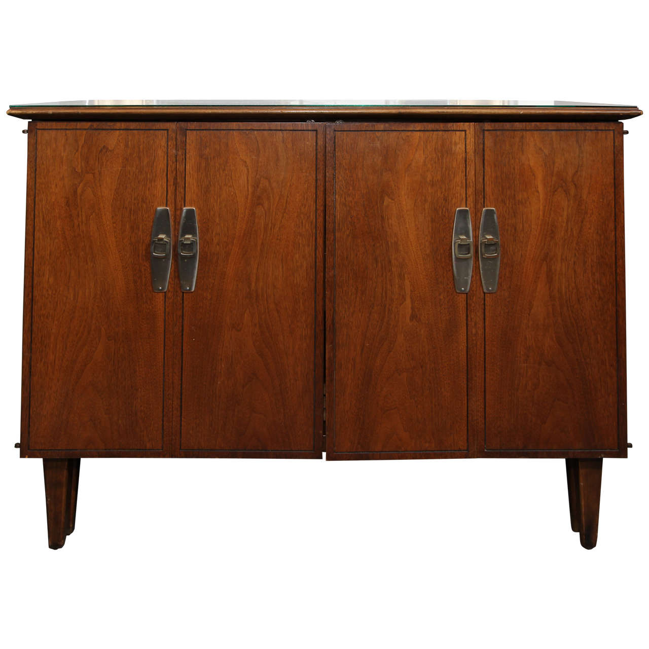 Hideaway table mid century cabinet that opens into table for Table with that left