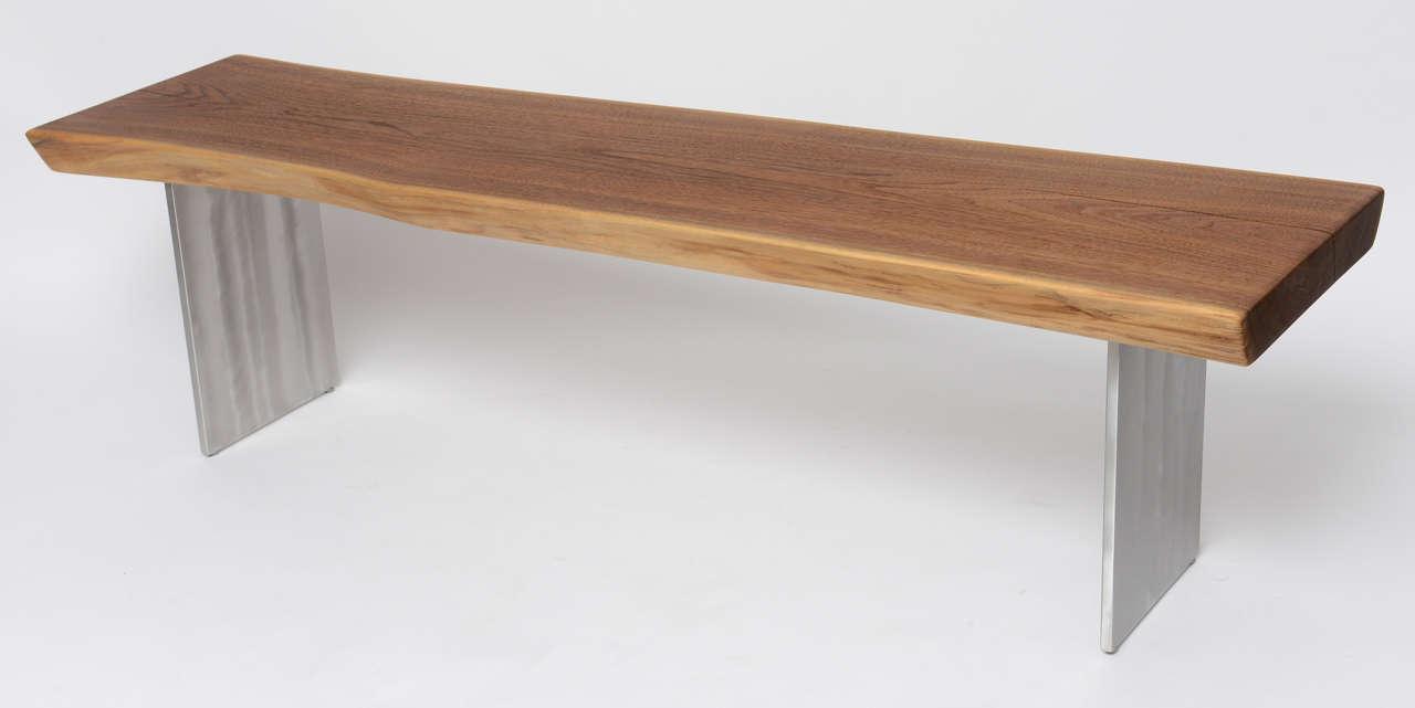 Minimalist Wood Bench, Black Walnut, Aluminum 2
