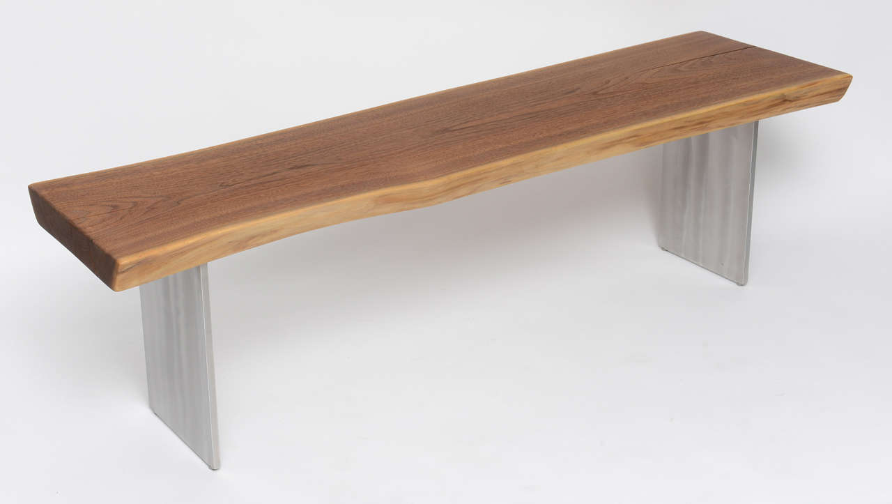 Minimalist Wood Bench, Black Walnut, Aluminum 3