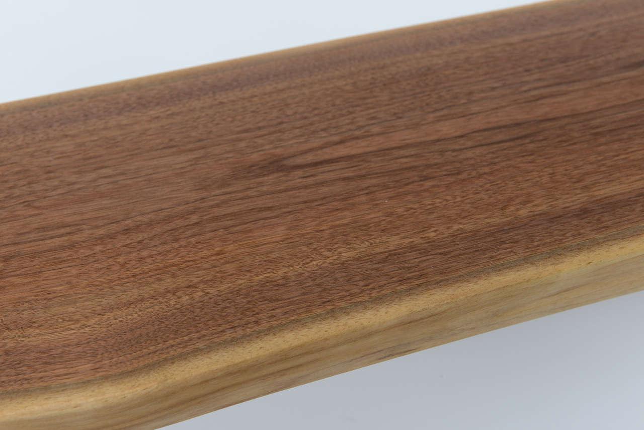 Minimalist Wood Bench, Black Walnut, Aluminum 4