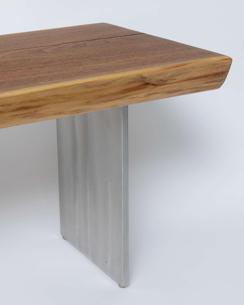 Minimalist Wood Bench, Black Walnut, Aluminum 5