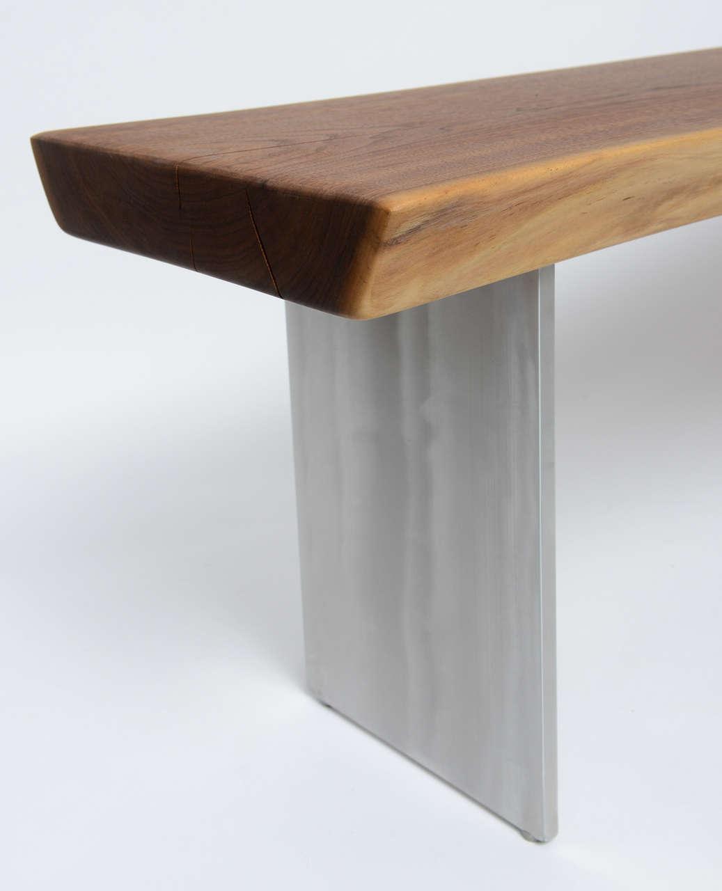Minimalist Wood Bench, Black Walnut, Aluminum 6