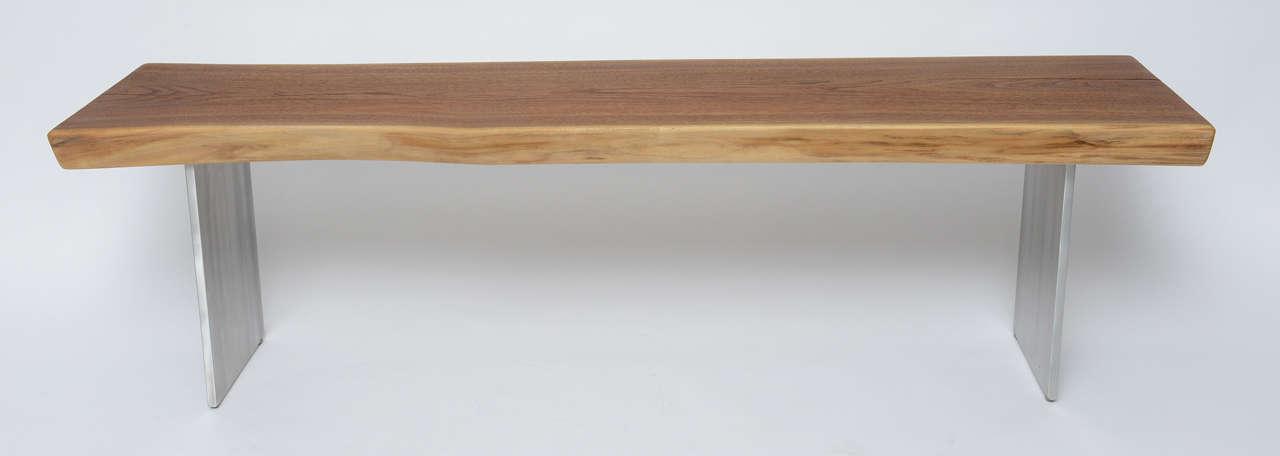 Minimalist Wood Bench, Black Walnut, Aluminum 7