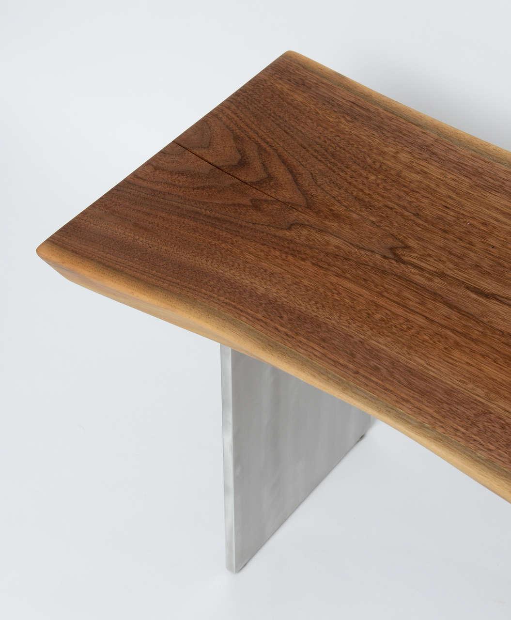 Minimalist Wood Bench, Black Walnut, Aluminum 8