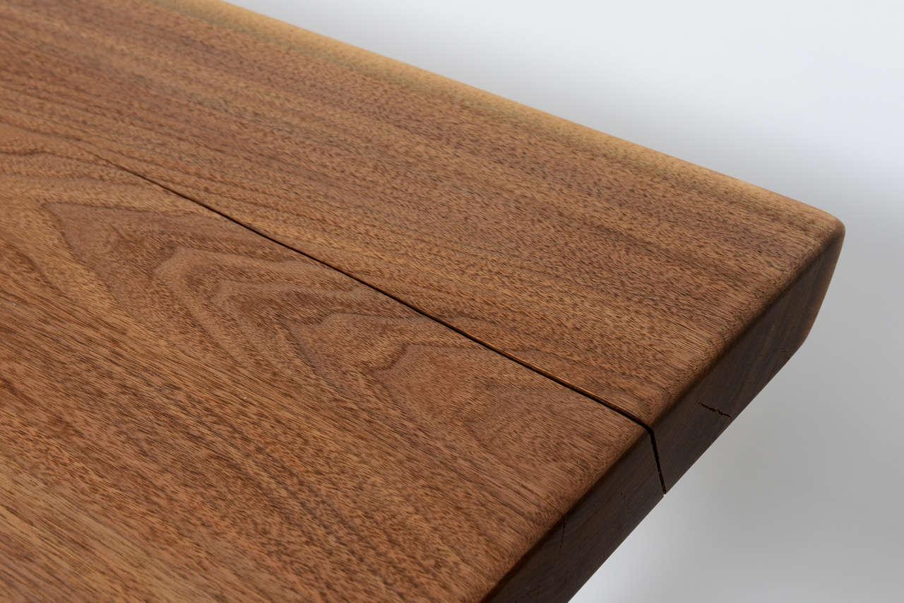Minimalist Wood Bench, Black Walnut, Aluminum 9