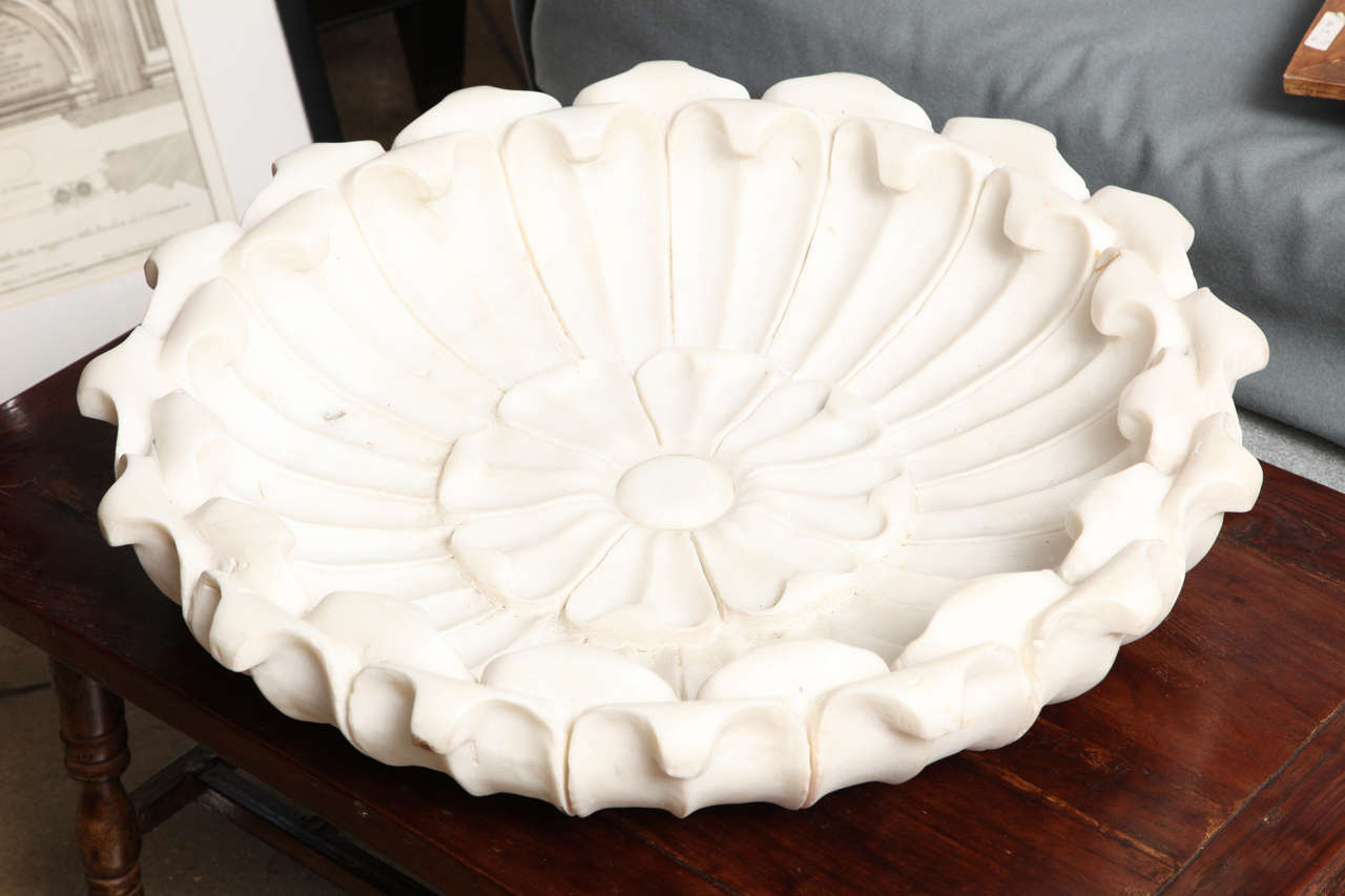 Large White Marble Bowl 2