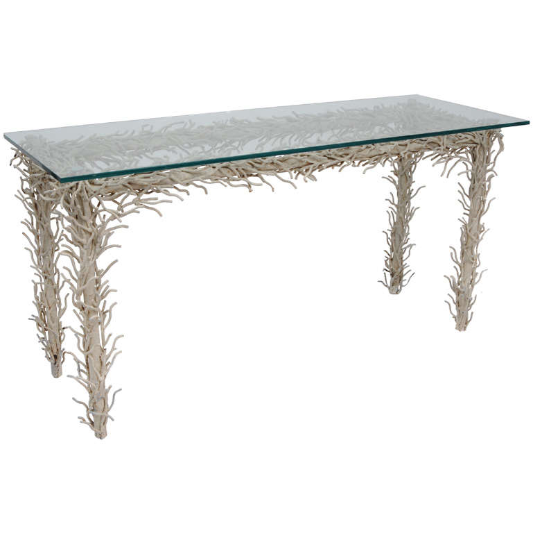 Faux  Metal Coral Console Table