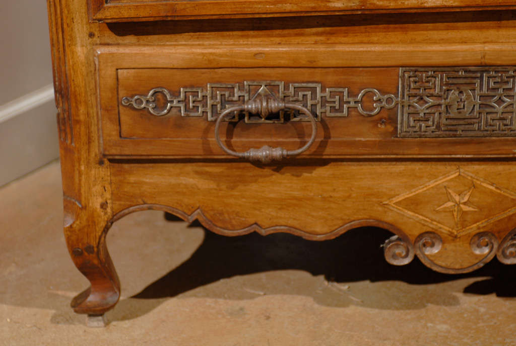 French 19th Century Louis XV Style Cherry Bonnetière with Intricate Hardware For Sale 2