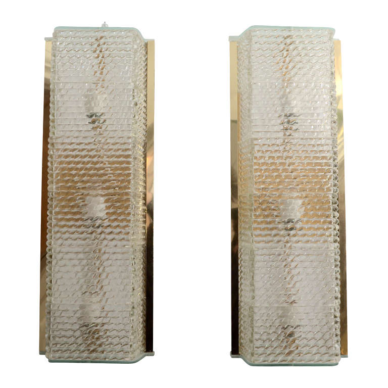 Pair of Large Brass and Textured Glass Sconces