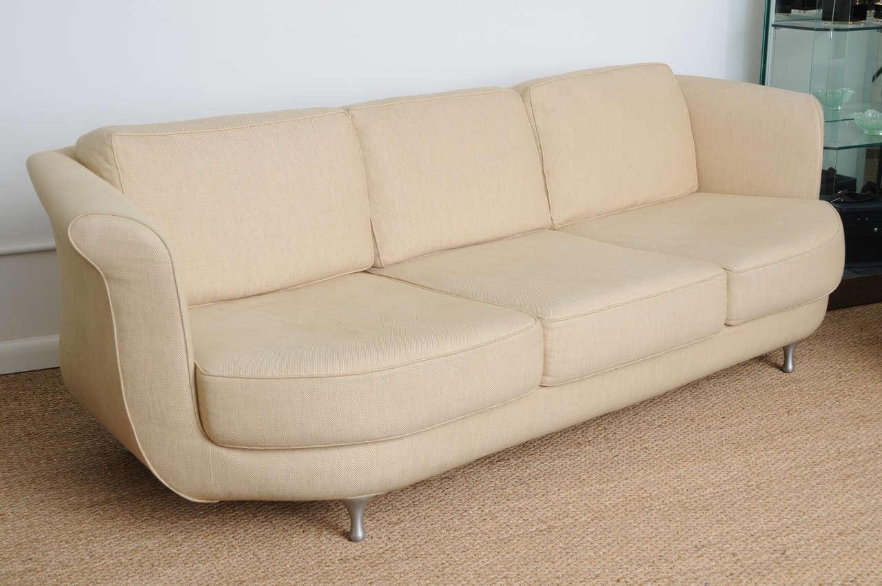 Comfortable And Deep Seated Linen Moroso Sofa At 1stdibs
