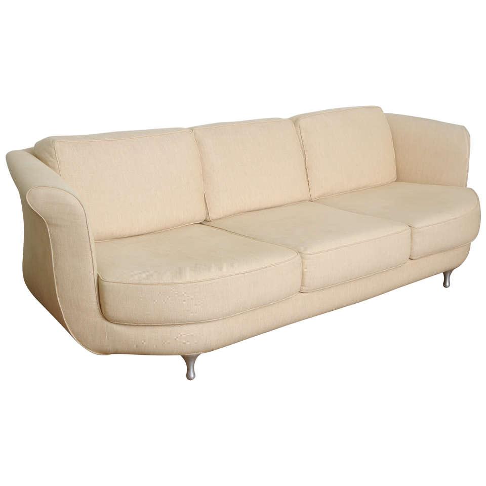Comfortable and deep seated linen moroso sofa at 1stdibs for Deep comfortable sectional sofa