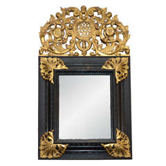 A Louis XIV Gilded & Ebonised Mirror