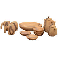 Set of Faux Bois Ceramics by Grandjean Jourdan