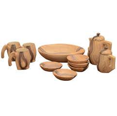 Set of Faux Bois Ceramics by Grandjean Jourdan