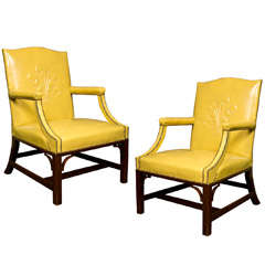 Pair of Leather Arm Chairs by Grosfeld House
