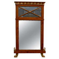 Early 19th Century Neoclassical Italian Fruitwood and Parcel Gilt Mirror