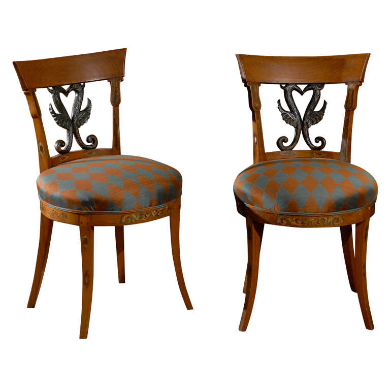 Pair of 19th Century Continental beech Side Chairs
