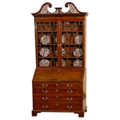 Early 19th Century English Mahogany Bureau Bookcase with Swan neck Pediment