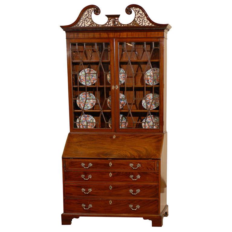 Early 19th Century English Mahogany Bureau Bookcase with Swan neck Pediment