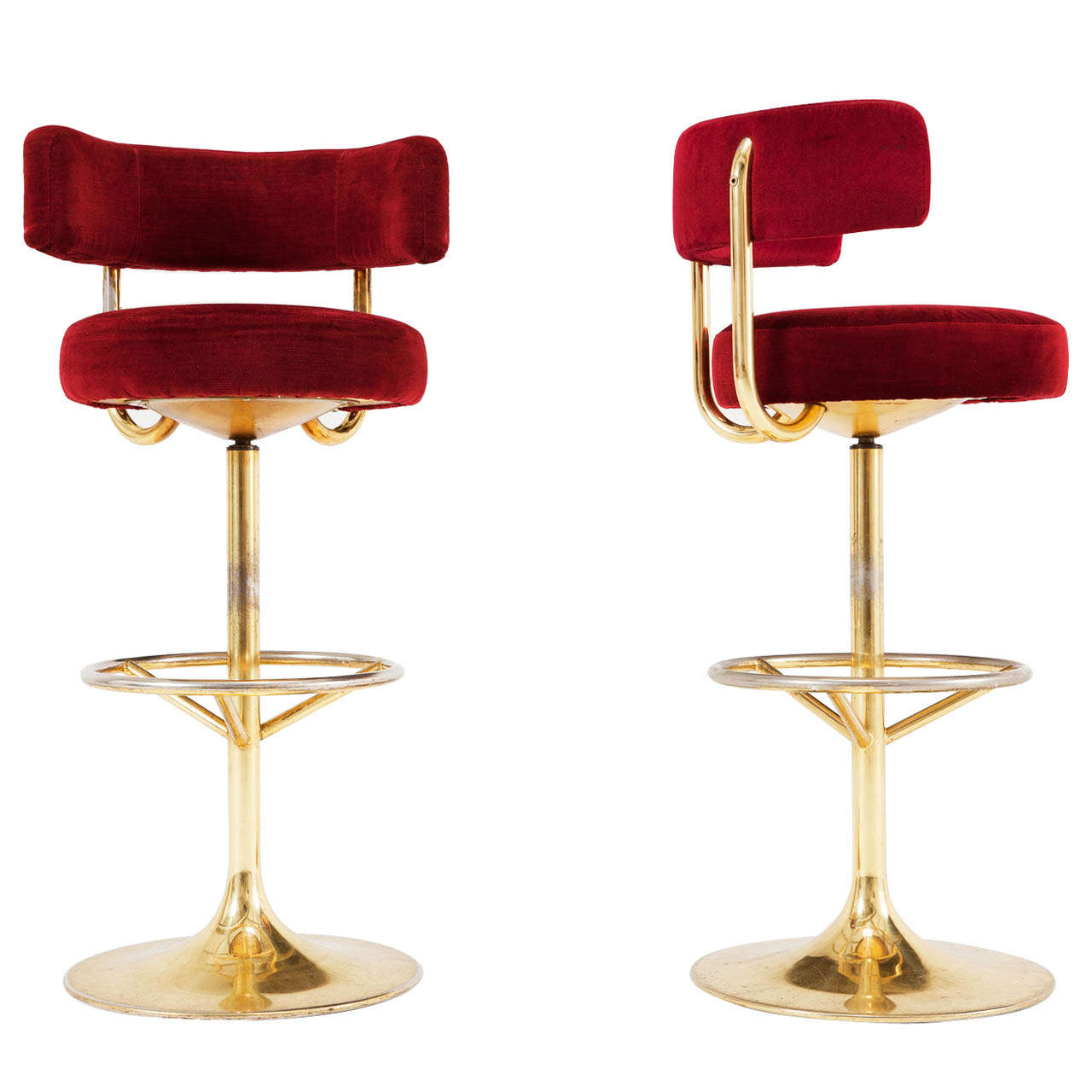 Pair Of Brass And Red Velvet Barstools At 1stdibs