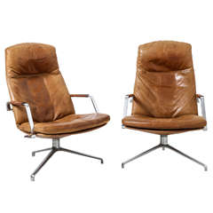 A Pair of Preben Fabricius and Jorgen Kastholm Lounge chairs designed by Kill..