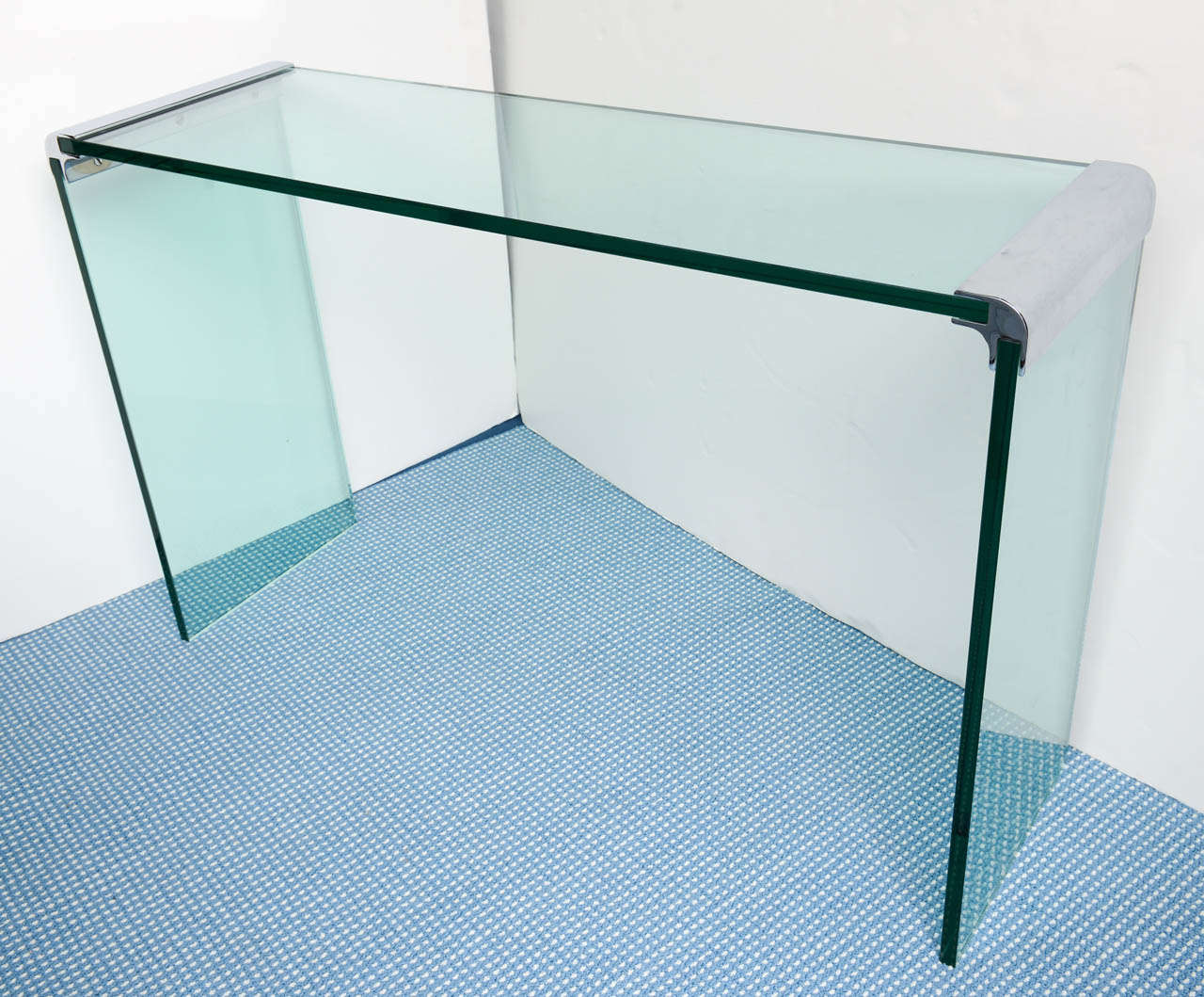Mid Century Modern Waterfall Chrome And Glass Console Table By Pace  Collection For Sale