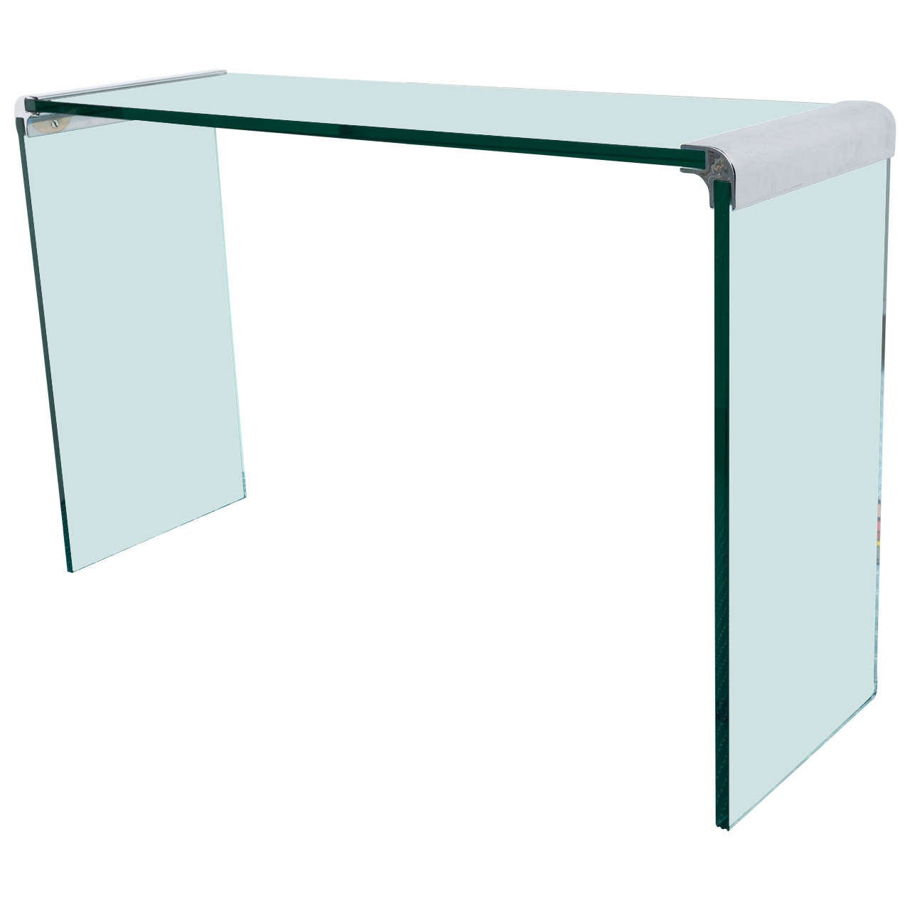 Waterfall Chrome And Glass Console Table By Pace Collection For Sale