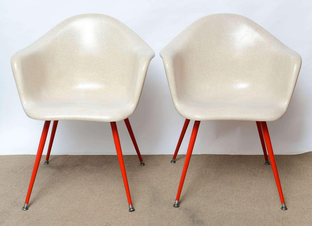 Mid Century Vintage Eames Era Fiberglass Shell Arm Chairs By ChromeCraft 3