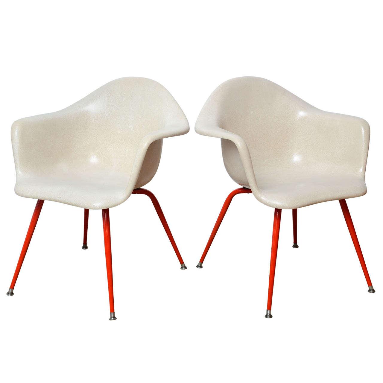 Mid Century Vintage Eames Era Fiberglass Shell Arm Chairs
