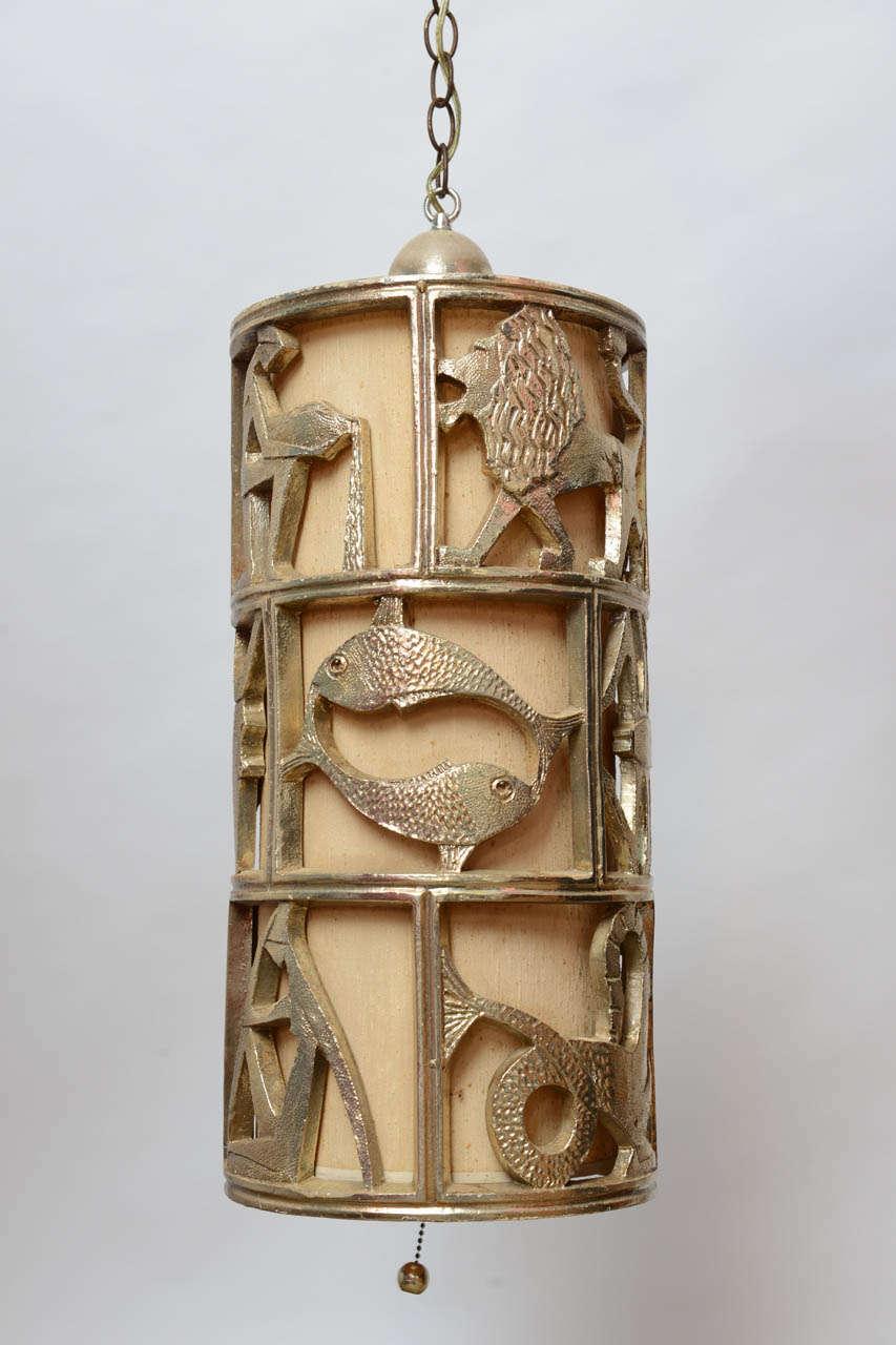 Vintage mid century hollywood regency gold gilt zodiac pendant hanging swag lamp