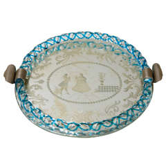 Vintage Venetian Glass and Mirrored Tray