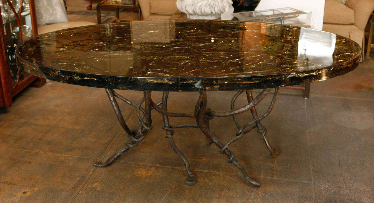 Resin Dining Table with Vined Hand Forged Base at 1stdibs : B from www.1stdibs.com size 1280 x 694 jpeg 114kB