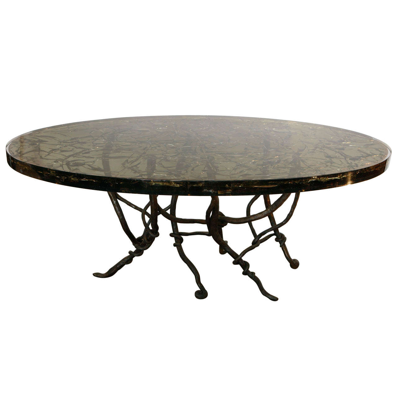 Resin Dining Table with Vined Hand Forged Base at 1stdibs : X from 1stdibs.com size 1280 x 1280 jpeg 72kB