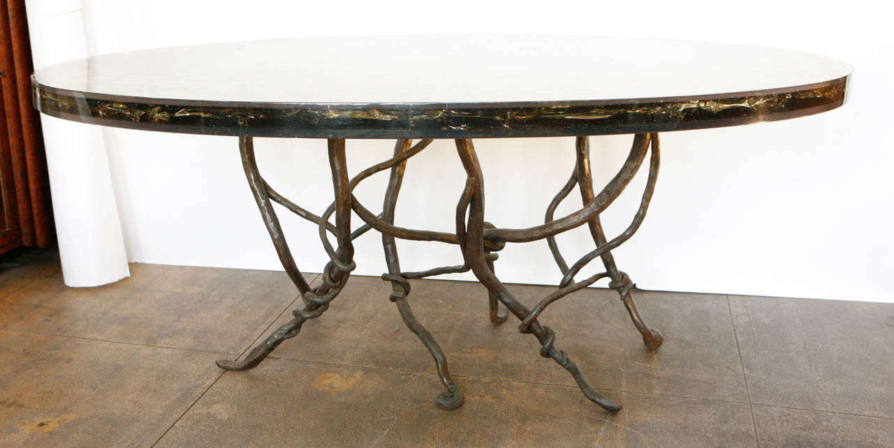 Resin Dining Table with Vined Hand Forged Base at 1stdibs : MG3006 from 1stdibs.com size 1280 x 642 jpeg 78kB