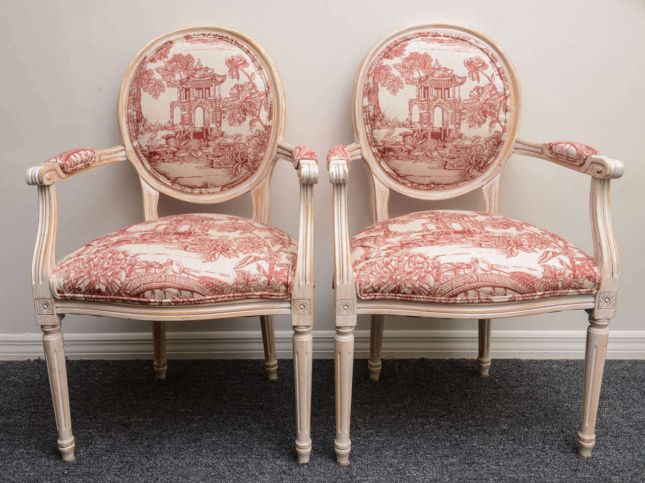 Pair French Louis XVI Style Armchairs Upholstered in a Red Chinoiserie Fabric 2