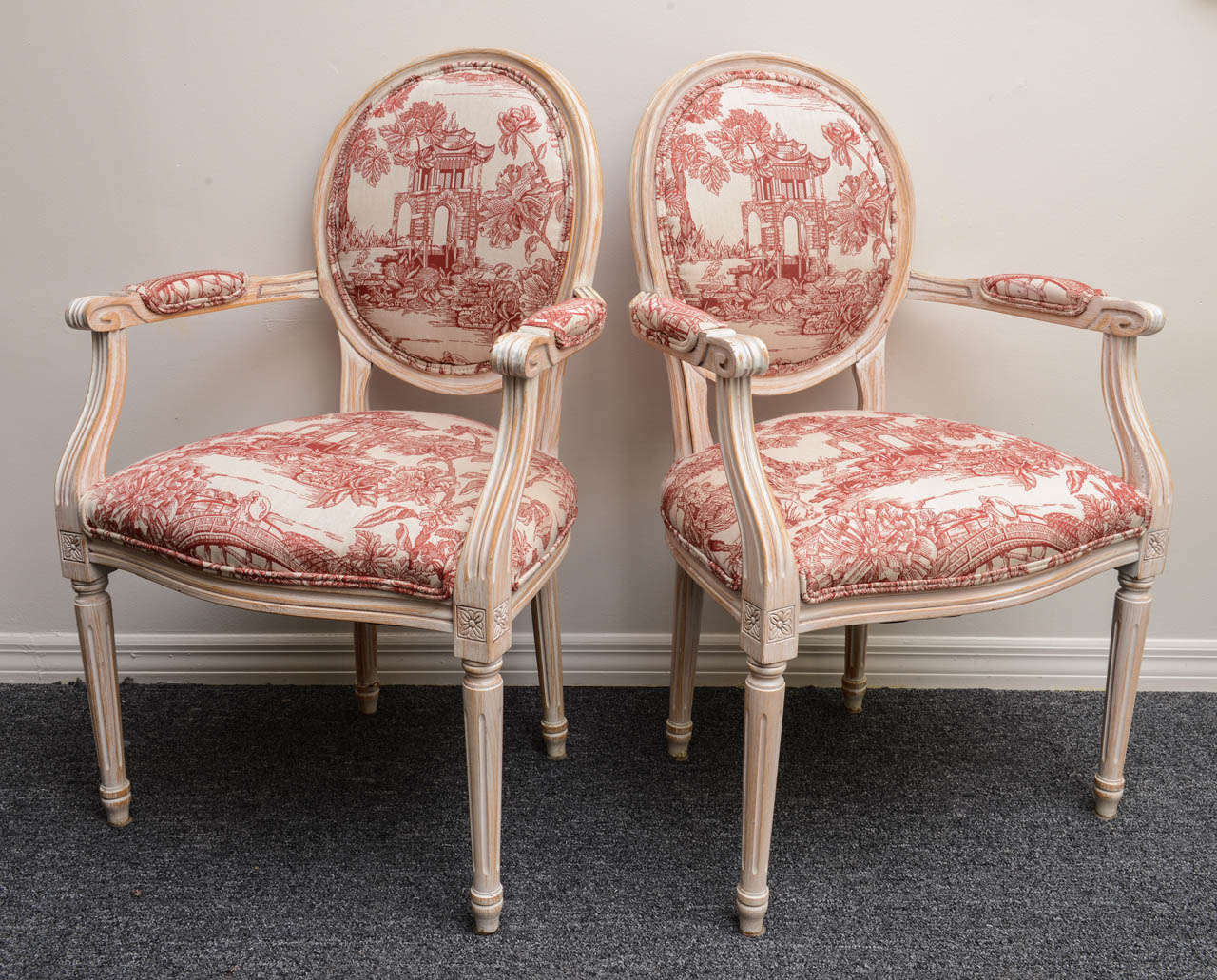 Pair French Louis XVI Style Armchairs Upholstered in a Red Chinoiserie Fabric 3