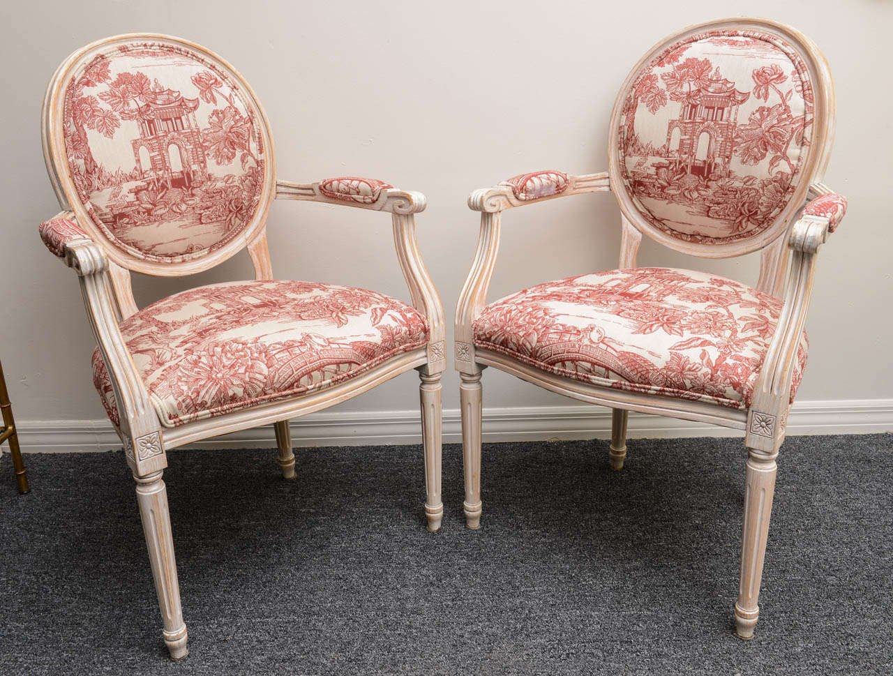 Pair French Louis XVI Style Armchairs Upholstered in a Red Chinoiserie Fabric 4