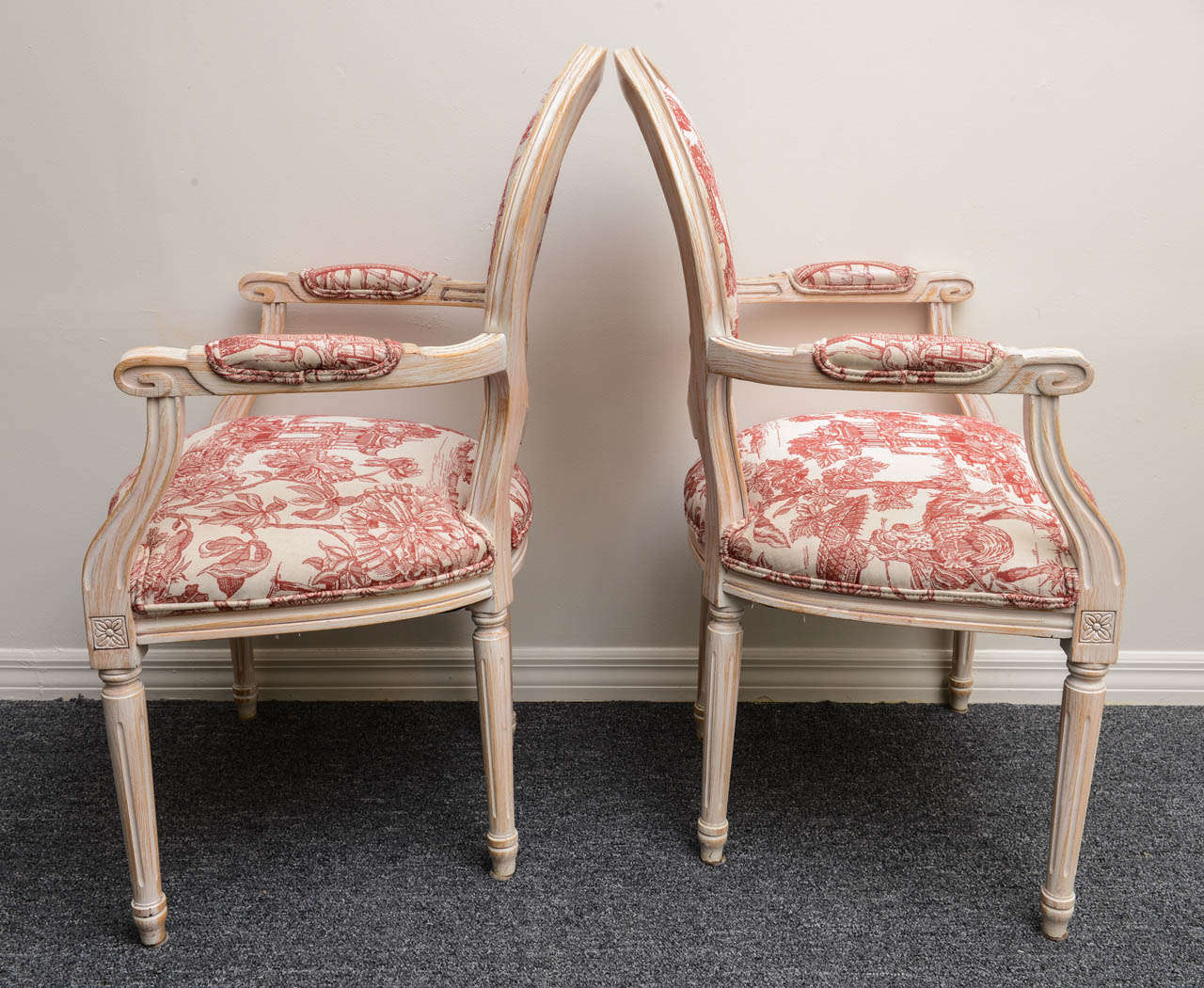 Pair French Louis XVI Style Armchairs Upholstered in a Red Chinoiserie Fabric 5