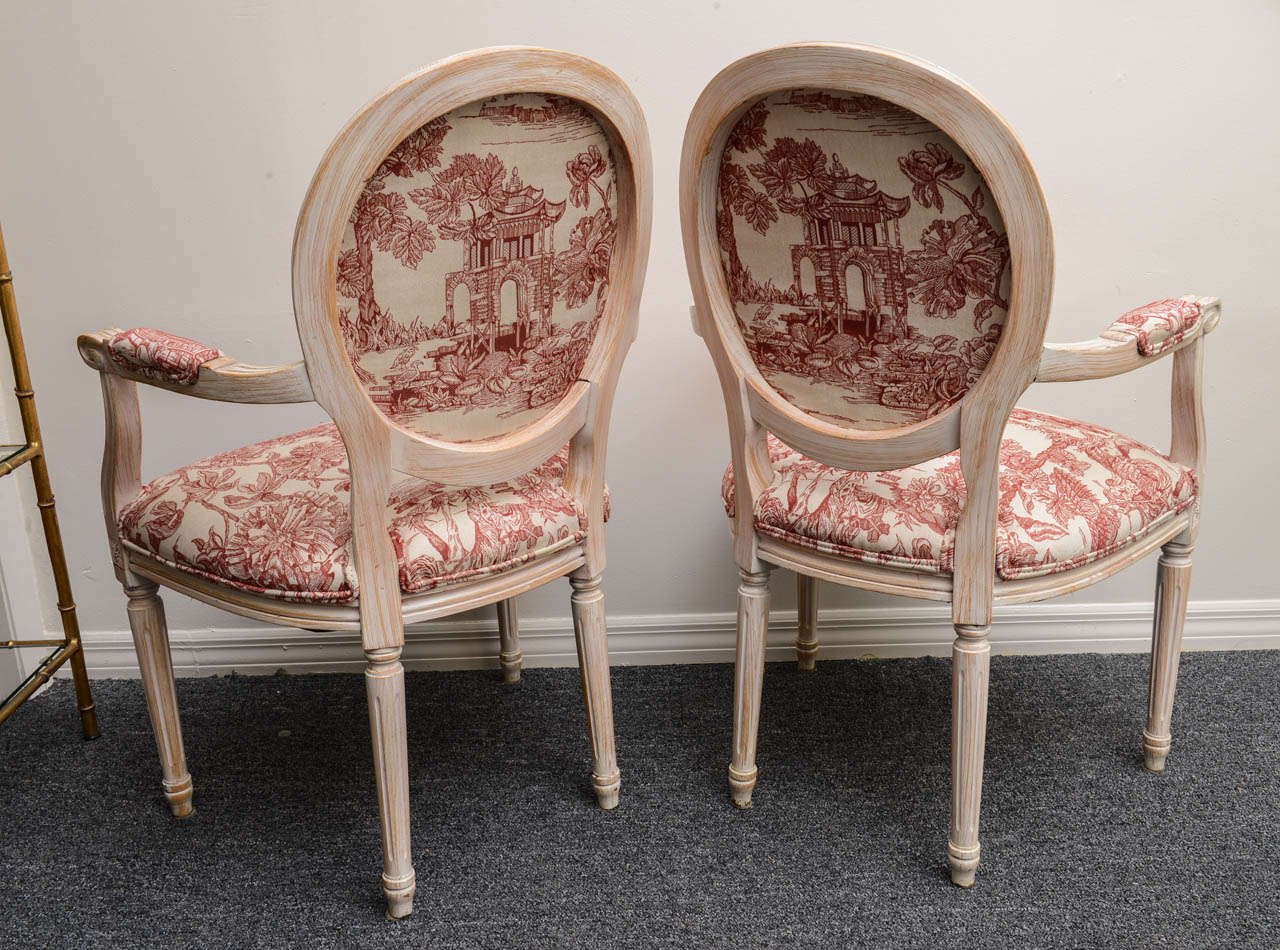 Pair French Louis XVI Style Armchairs Upholstered in a Red Chinoiserie Fabric 6