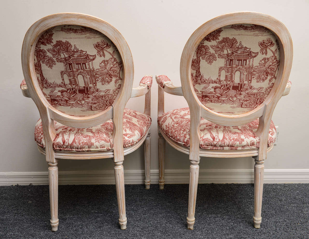 Pair French Louis XVI Style Armchairs Upholstered in a Red Chinoiserie Fabric 7