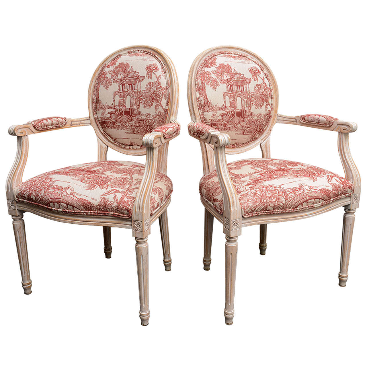 Pair French Louis XVI Style Armchairs Upholstered in a Red Chinoiserie Fabric 1