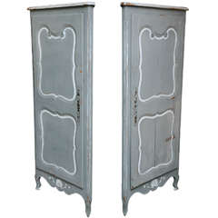 Pair 19th Century Painted French Encoignures