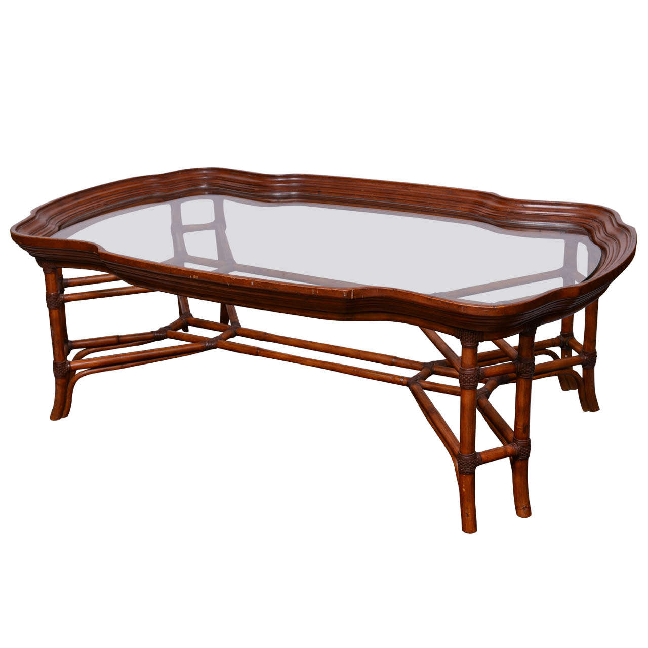 Large Faux Bamboo Coffee Table With Glass Top At 1stdibs