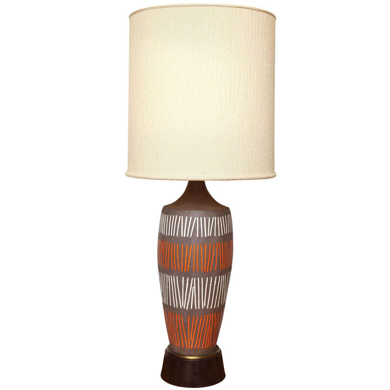 large ceramic lamp with orange and white geometric stripe. Black Bedroom Furniture Sets. Home Design Ideas