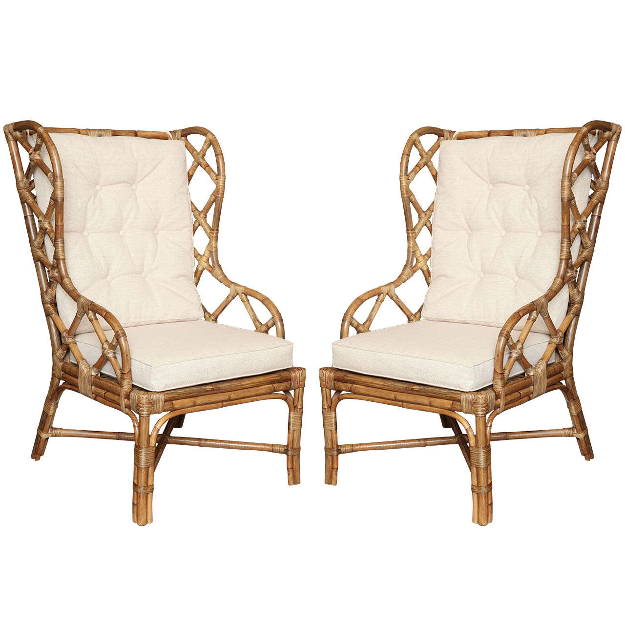 Pair Rattan Wingback Chairs c 1960 at 1stdibs